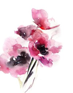 Fine Art Print from Watercolor Painting by CanotStop Anemones fine art print, watercolor painting print of anemones, bright giclee print, flowers art print PRINT DETAILS: printed on Epson art printer specialised in museum quality printing, on heavy weight archival (acid free,