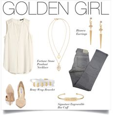 Get your Golden Girl look that features a long blouse, slim jeans and d'orsay pumps. Complete the look with Stella & Dot gold accessories that will make a statement!
