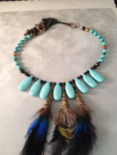 Edgy Elegance Turquoise Crystal Feather Necklace Earring Set  Purchase hand designed jewelry accessories from http://www.etsy.com/shop/TahoeBlueDesigns