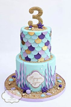 Mermaid cake featuring fondant mermaid 'scales' in shades of blue, lavender, and. Mermaid cake featuring fondant mermaid 'scales' in shades of blue, lavender, and… Little Mermaid Cakes, Mermaid Birthday Cakes, Birthday Cake Girls, Girls 1st Birthday Cake, Little Girl Cakes, Birthday Ideas, Birthday Design, Third Birthday, Fondant Girl