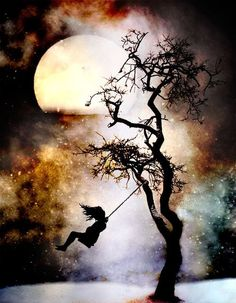 tree, silhouette, girl, full moon, stars, rainbow clouds