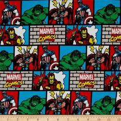 Marvel Comic Wall Jersey Knit Multi from @fabricdotcom  Designed by Marvel and licensed to Springs Creative Group, this jersey knit features a smooth hand and 30% four-way stretch for added comfort and ease. This versatile fabric is perfect for making children's T-shirts and clothing. Colors include black, red, brown, green, blue, peach, beige, yellow and white.