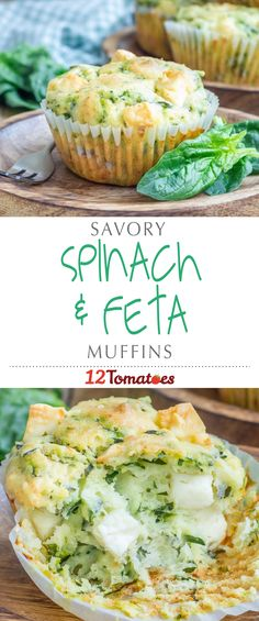 Spinach And Feta Muffins | Packed with spinach and cubes of feta cheese, these flavor-rich muffins treat your taste buds to a yummy spanakopita-like experience.