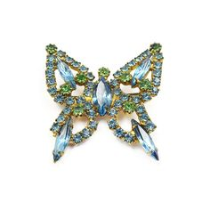 Vintage Blue Green Rhinestone Butterfly Brooch - Vintage Brooch, Butterfly Pin, Vintage Jewelry by zephyrvintage on Etsy