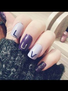 Full with purple ehehe Nail art.. #nail #art