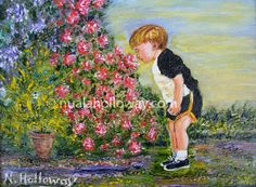 """""""Smelling The Roses"""" by Nuala Holloway - Oil on Board #IrishArt #Roses #Boy #Art"""