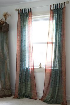 sari curtain sheer teal with rustic red  by ColorsbyPadmini