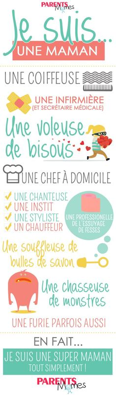 "Poster infographie ""Je suis une maman"" - Best of pins! Positive Attitude, Diy And Crafts, Positivity, Motivation, Blog, Makeup Quotes, Stacy Poole, Samantha Smith, Augmentation"