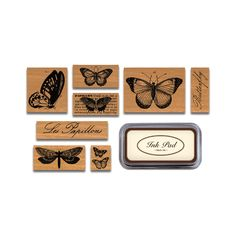 Cavallini - Tin of Rubber Stamps - Butterflies £20.50