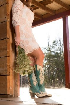 Wedding Inspiration: Boots with Dresses