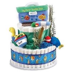 Gone Fishing Baby Shower Diaper Cake Baby Shower Photos, Boy Baby Shower Themes, Baby Shower Decorations, Baby Boy Shower, Baby Shower Gifts, Baby Gifts, Baby Shower Party Supplies, Baby Shower Parties, Baby Shower Diapers