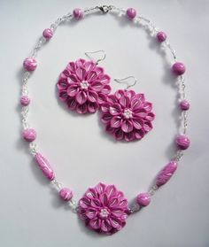 Polymer clay flower earrings and necklace