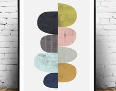 Circles art Abstract art Geometric print Mid century by Wallzilla