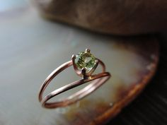 Peridot Copper DoubleBand Ring / Natural Genuine by coppervalley