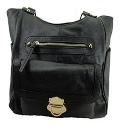 Leather Concealed Carry Gun Purse Left/Right Hand CCW W/Locking Zipper 03Black - Handbags, Bling & More!