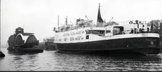 1976 Isle of Man ferry passing along ship canal at Barton. Both swing bridges open.