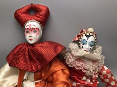 Lot of 2 Porcelain Red and White Pierrot Jester Harlequin Clowns by Anaforia on Etsy Pierrot Clown, Jesus Is Lord, Pottery Painting, Clowns, Native American Indians, Red And White, Porcelain, Chips, Lily