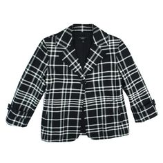 """TALBOTS Black & White Plaid Blazer Jacket Mint Condition. This black and white plaid jacket from Talbots features a button closure, 3/4 length sleeves, and is fully lined. Made of a cotton blend. Measures: Bust: 38"""", Total length: 24"""", Sleeves: 19"""" Talbots Jackets & Coats Blazers"""