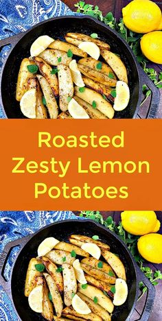Roasted Zesty Lemon Potatoes - Potatoes are one of my favorite comfort foods, that's why I am always looking for interesting ways to prepare them.Vegetable broth, olive oil, lemon juice, lemon zest and oregano make these Roasted Zesty Lemon Potatoes a delectable, vegan potato dish.  #vegan  #potato  #roastedpotatoes  #lemon  #plantbased  #veganrecipes   #potatorecipe