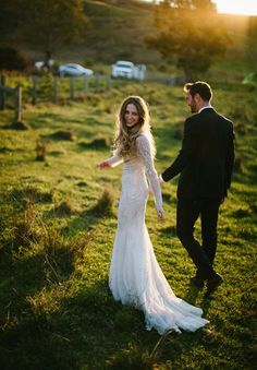 KATH + CALEB I Wedding I Hello May I Rachel Kara Photography I Bo + Luca Wedding Gown I Field