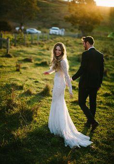 KATH + CALEB I Wedding I Hello May I Rachel Kara Photography I Bo + Luca Wedding Gown I Field
