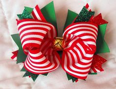Jingle Bell Christmas Hair Bow.