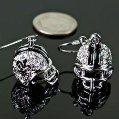 Fleur De Lis New Orleans Saints Football Helmet Earrings. Rhinestone Silvertone Earrings.   $12.50