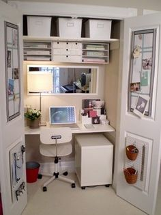 Desk In Closet Design Ideas, Pictures, Remodel, and Decor...use doors to close off built in desk....add shelving