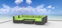 Look no further, this outdoor wicker patio sectional sofa set will give any backyard that elegant, sophisticated, ultra-modern look. It is great for entertaining and will definitely be the center of attention. Cushions are comfortable, easy to maintain, and water resistant. Each module is constructed from an all-aluminum frame that gives durability and strength yet light weight enough to easily reconfigure to any layout your heart desires.
