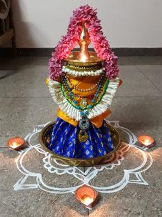 Something Ribbon Decorations, Home Wedding Decorations, Diwali Decorations, Festival Decorations, Free Hand Rangoli Design, Rangoli Designs, Gauri Decoration, Diwali Pooja, Housewarming Decorations