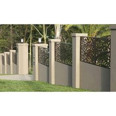 Privacy Screen & Decorative Panel - Jungle Image 8 of 8 Fence Wall Design, Modern Fence Design, Front Gate Design, Backyard Fences, Backyard Landscaping, Diy Fence, Garden Fencing, Concrete Fence Wall, Tor Design