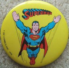 Check out Vintage SUPERMAN Metal BUTTON PIN DC COMICS INC. 1976 YELLOW Background  http://www.ebay.com/itm/Vintage-SUPERMAN-Metal-BUTTON-PIN-DC-COMICS-INC-1976-YELLOW-Background-/150731804084?roken=cUgayN via @eBay