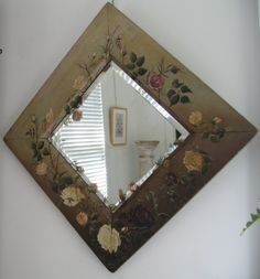 floral hand painted beveled mirror