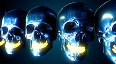 Abstract Loopable metallic skulls isolated on blue stock video footage