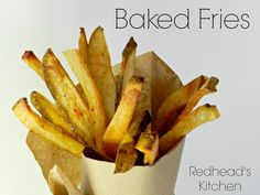 The secret to crispy on the outside, but soft on the inside baked fries…soak in ice water and pat dry before you bake them.  Works every time and these are loaded with fiber.