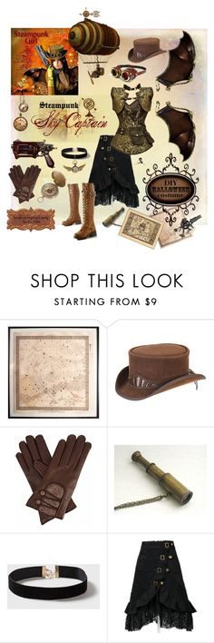 """""""Steampunk Sky Captain"""" by quicherz on Polyvore featuring Natural Curiosities, Overland Sheepskin Co., Gizelle Renee, Dorothy Perkins, Disney, halloweencostume and DIYHalloween"""