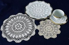 Sun Flower Style  Hand Crocheted Lace  Round Doilies  White or Ecru color