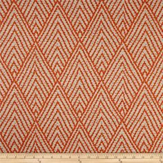 Lacefield Tahitian Stitch Tangerine from @fabricdotcom  Screen-printed on a cotton slub duck, this versatile medium weight fabric is perfect for most window treatments (draperies, valances, curtains), accent pillows, duvet covers, slipcovers, ottomans, upholstery and tote bags. Colors include orange, brown and beige.