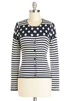 Dots and Stripes Forever Cardigan | Mod Retro Vintage Sweaters | ModCloth.com