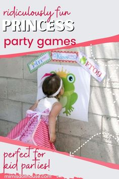 Princess Party Games for Royal Princesses and Brave Knights. Want some fun princess party crafts and games to entertain your little royals? Ready for some more Princess Party Fun? Here are some princess pinata ideas, princess dress up ideas, make your own princess crown, pin the kiss on the frog and more! #party #parties #princess #diy #birthday #girlparty #girlbirthday