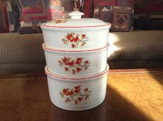 Universal Cambridge Ohio Pottery Company Bittersweet Stackable Casserole Bowls with Lid by AlbertsonMiller on Etsy