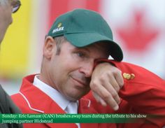 Sunday: #EricLamaze (CAN) brushes away tears during the tribute to his show jumping partner #Hickstead #2012Masters