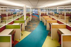 Sykes Enterprises call center by Gresham, Smith and Partners, Lakeland – Florida Open Office, Cool Office, Office Art, Office Ideas, Office Decor, Office Interior Design, Office Interiors, Office Designs, Call Center