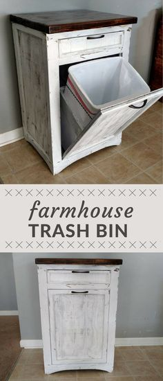 Amazing Farmhouse Style Decorative Wood Trash Bin, Rustic Style Wood Garbage Or  Recycling Bin Cover,