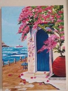 Landscape Drawings, Landscape Art, Art Drawings, Greece Painting, Painting Lessons, Painted Doors, Beach Art, Pictures To Paint, Acrylic Art