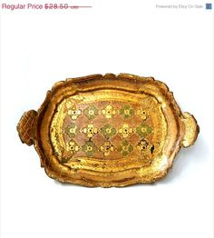SALE 15% OFF Antique Golden Wooden Tray, Florentine Ornate Golden and Green Tray ,Made in Italy.