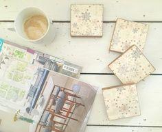 Snowflake Wooden Coasters Pine Wood Coasters Wooden by SCWVintage