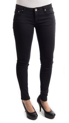 Skinny Minnie Black Jeggings. These are super skinny/super stretchy - jeggings with traditional 5 pocket with one zipper closure.