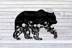 Excited to share this item from my shop: Floral Bear SVG/DXF/PNG/jpeg Bear Silhouette, Silhouette Tattoos, Bear Paw Tattoos, Bear Paws, The Design Files, Animal Design, Zentangle, Ship Tattoos, Arrow Tattoos
