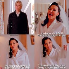 """A Wedding"" - Santana and Sue I'll admit this was funny. One of my favorite scenes One of my Favorite scenes from glee Glee Memes, Glee Quotes, Scandal Quotes, Scandal Abc, Best Tv Shows, Best Shows Ever, Favorite Tv Shows, Brittany And Santana, Brittany Snow"